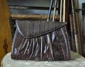 1980's Brown Snakeskin Leather Clutch
