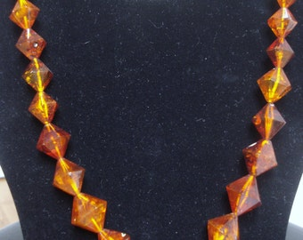 Vintage Baltic Amber Geometric Dodecahedron Beaded Necklace