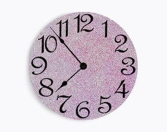 Pink dotted wall clock. Circle Design.