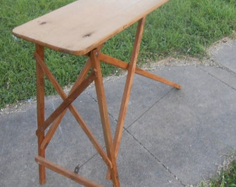 Antique Ironing Board Solid Wood Pine Folds up Flat Unique Table Console Laundry Decor