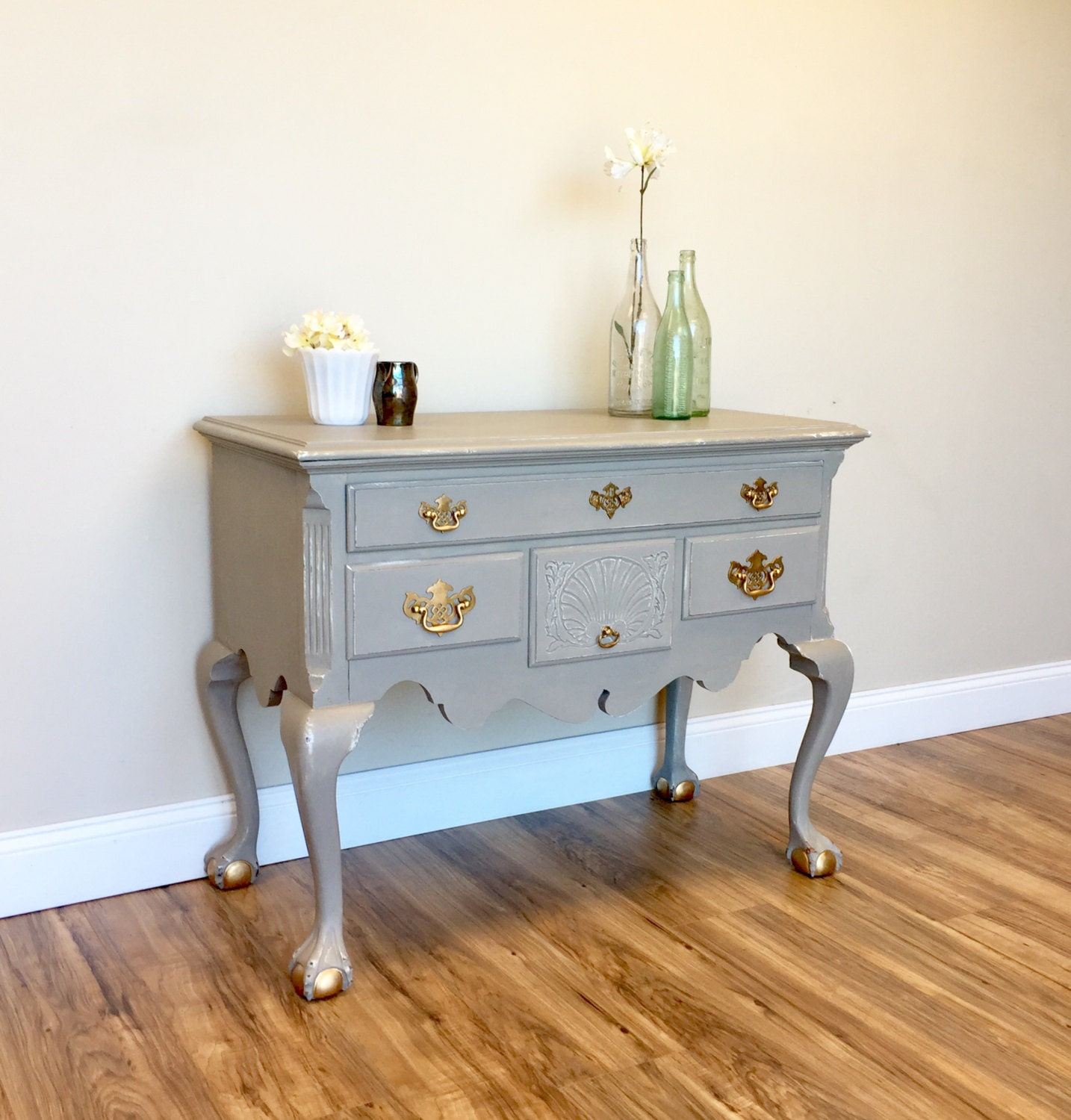 Gray Console Table Entry Way Table Antique Accent Table