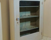RESERVED Antique Apothecary Cabinet Wood Shelves Glass Door Vintage Storage Curio Display