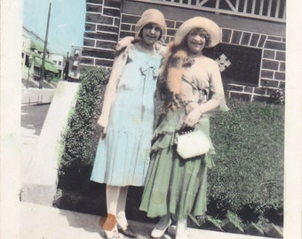 Beuatiful Hand Tinted Antique Snapshot Photo of Two Beautiful Women Out on The Town