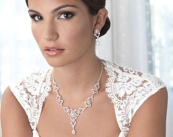 Rhinestone Bridal Jewelry Set, Rhinestone Wedding Jewelry, Bridal Jewelry, Jewelry Set for Bride, Bridal Accessories, Bride Jewelry ~JS-1627
