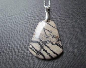 Jasper Necklace | Striped Jasper Pendant | Large Gemstone Jewelry