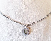 "U stamped jewelry, personalized teen, ""U initial necklace"", edgy rustic silver U letter charm, ""U"" monogram necklace, U sweet 16 choker gift"