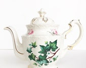 Large Vintage Tea Pot ~ Roses & Ivy / Gold Trim ~ Antique Teapot ~ Pink Roses ~Vintage Teapot ~ Antique ~ Made in England ~ Tea Lovers Gift