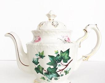 Large Vintage Tea Pot ~ Roses & Ivy / Gold Trim ~ Antique Teapot ~ Pink Roses ~Vintage Teapot ~ Antique ~ Made in England ~ Tea Lovers Gift