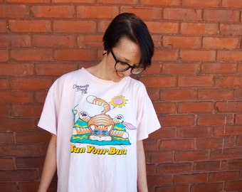 1987 Sun Your Buns Adorable Oversized Beach Shirt
