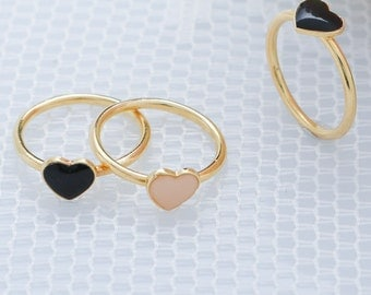 Gold Heart Knuckle Ring Pinky Or Midi Ring Love Thin Gold Ring Stackable Skinny Gold Filled Ring Dainty Jewelry.
