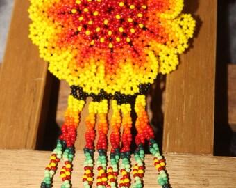 Huichol Peyote Beaded Necklace WW-Yellow