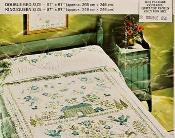 "Vintage Paragon Double Bed Quilt Top Kit w ALL Thread Included - Sz 81"" x 97"" Blue & Green American Sampler Design Quilting Sewing Supplies"