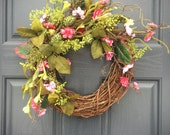 Pink and Green, Small Wreaths, Spring Wreaths, Pink Spring Wreaths, Spring Decor Pink, Small Door Wreaths, Green Wreaths, Spring Trends