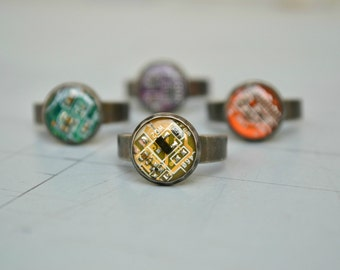 Cute Geeky Nerdy Ring, Electronic Computer Circuit Board Tech Ring, Modern Steampunkj Jewelry