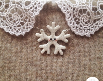 Cute Sparkling Snowflake necklace - polymer clay jewelry