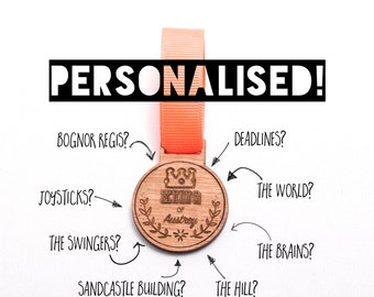 Personalised 'King of..' Wooden Medal - personalised gift, great for father's day!