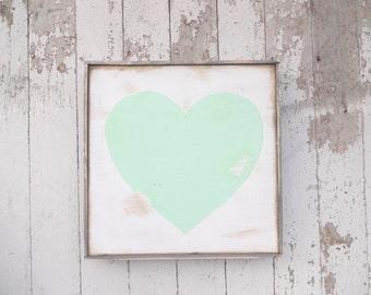 Mini mint heart rustic wood sign