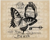 Paris cosmetics Butterfly Music Instant Digital download graphic image for iron on transfer Burlap Decoupage Pillow Card Totes No. gt329