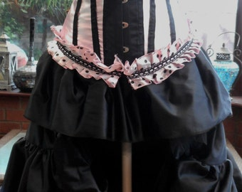 Corset dress boned lace up Frilled bustle skirt 42inch back length ajustable ribbon ties18inches long front and ajustable waist