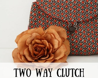 Two Way Clutch sewing pattern (PDF) instant download, clutch sewing pattern, sewing pattern clutch, hand bag sewing pattern, sewing pattern