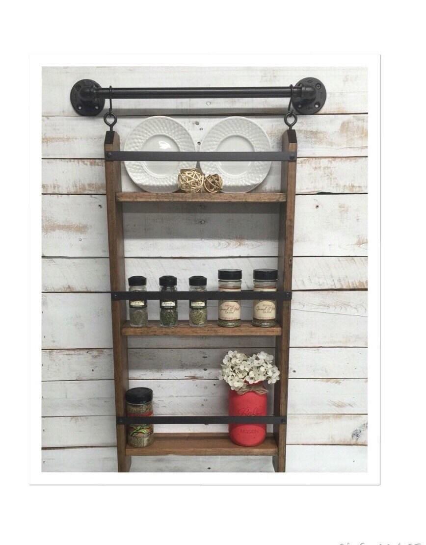 Wood kitchen shelf shelves wall