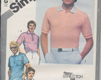 Vintage sewing pattern: Men's pullover top - three sleeves -Simplicity