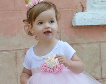 Rose Cottage Vintage Chic Flower Girl Rustic Wedding Princess Birthday Party Tutu Dress Infant Toddlers Girls