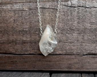 Citrine Crystal Boho Jewelry, Silver minimal pendent necklace