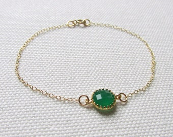 Dainty Bracelet Jade Green Crystal Minimal Jewelry Stacking Layering Bracelets 14k Gold Filled Thin Chain