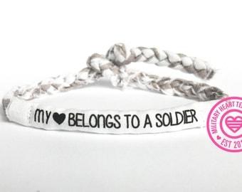 My heart belongs to a soldier bracelet, custom military bracelet, military wife girlfriend bracelet, army, air force, navy, coast guard
