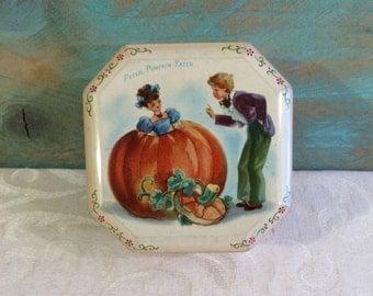 1940s Peter Pumpkin Eater Vintage Tin Box, Nursery Rhyme, Halloween Décor, 1946, Barringer Wallis Manners, Mid Century Box, Nursery Decor
