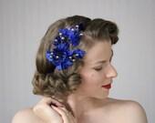 "Royal Blue Fascinator, Leaf Headband, Silver Berry Hair Accessory, Velvet Leaves, 1940s Headpiece - ""Starlight & Shadow"""