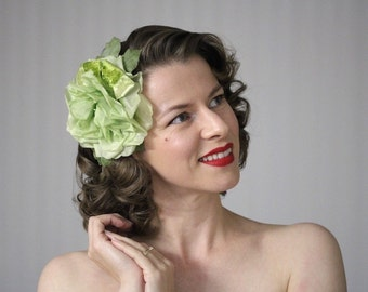 "Large Green Fascinator, Green Flower Clip, Sage Hair Accessory, Silk Rose Clip In, Peridot Headpiece, Vintage Velvet - ""Morning Meadow"""