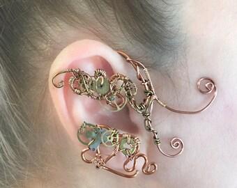 Copper Cogs Steampunk Wire Ear Wrap