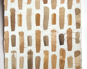 Watercolor painting original/ Geomertic pattern/ Small watercolors7,5'x11'/ Rusty ocher watercolor illustration/ Minimalist art Abstract