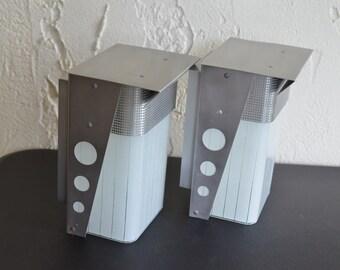 Pair of NOS Mid Century Modern Exterior Porch Lamp Sconces Lights