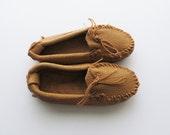 Vintage Genuine Leather Moccasins Tan KIDS Size US 11.5 / Euro 29 / UK 10.5