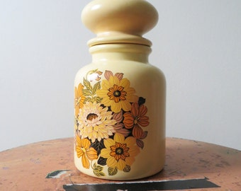 80s Yellow Floral Ceramic Container with Lid Tea Coffee Sugar Flour Storage Farm Country Chic Kitchen