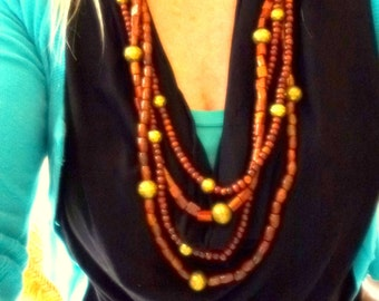 brown wood multi strand necklace