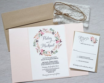 Elegant Lace Invitations, Boho Wedding Invitation, Floral Wedding Invitation, Watercolor Wedding Invitations, Bohemian, Blush Pink Invites