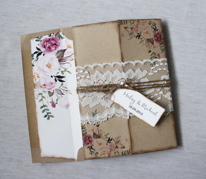Rustic Wedding Invitations: Rustic Wedding Invitation. Lace Wedding Invitation. Floral