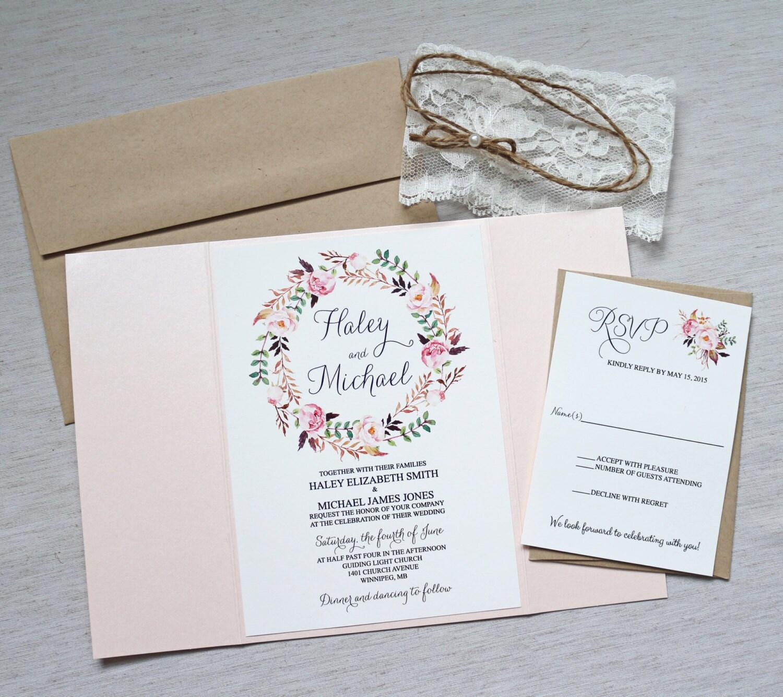 elegant lace invitations boho wedding invitation floral With boho wedding invitations with lace