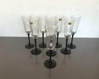vintage Arcoroc Octime champagne flutes deco black France Luminarc set of 8