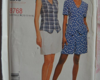 Stitch N Save 8768 Misses Tops and Pull on Shorts Sewing Pattern - UNCUT - Sizes 10 12 14 16