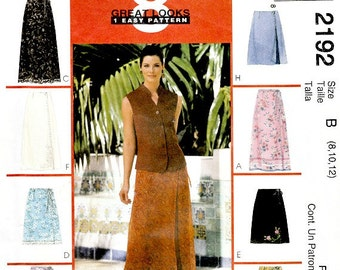 Front Wrap Skirts Easy to Sew McCall's 2192 Sewing Pattern Size 8 10 12 Ankle Knee Lengths Uncut Factory Folds