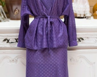 Vintage 1970's Purple Handmade Transparent Set with Polka Dots