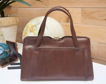 Vintage 1950s Brown Leather Trapeze Handbag