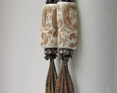 Salome - rustic earrings with vintage beads and feathers; primitive earrings, grungy earrings, assemblage earrings