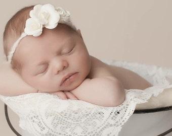 FREE SHIPPING! Ivory Tieback Headband, Newborn Tieback, Baby Tieback Headband, Ivory Flower Tieback, Photography Prop
