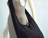 SALE 20% -- Black Cotton Messenger Bag Shoulder Bag Handbags Hippie Bag Hobo Bag Sling Bag Crossbody Bag Diaper Bag Overnight Purse Tote Bag